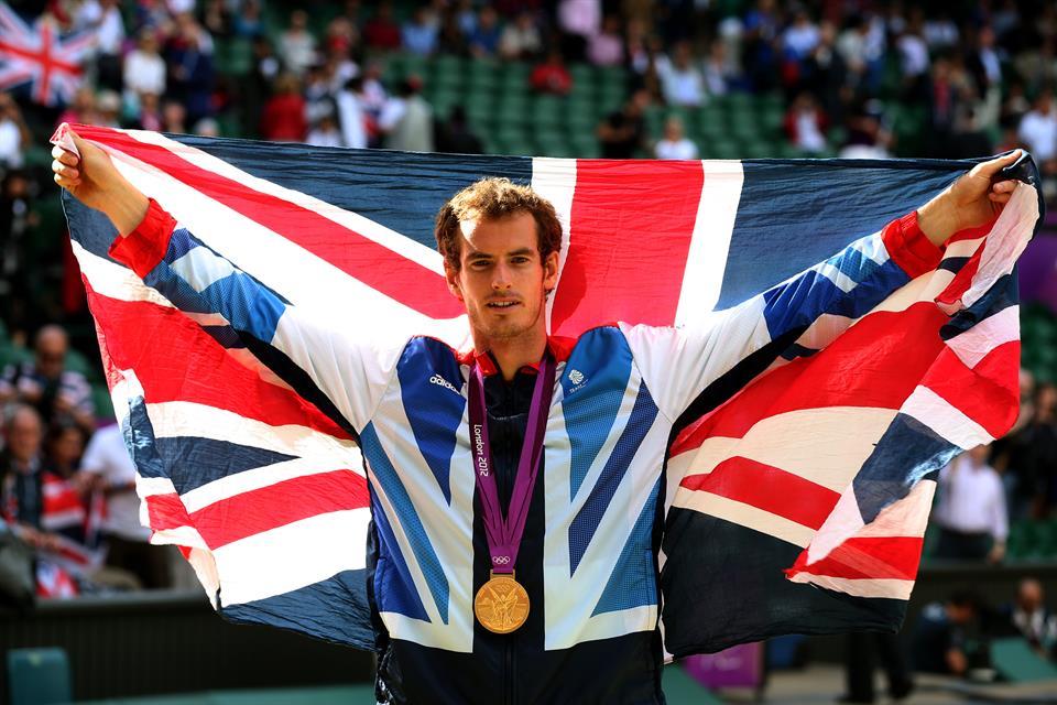 Andy Murray holding Team GB flag Wimbledon London 2012