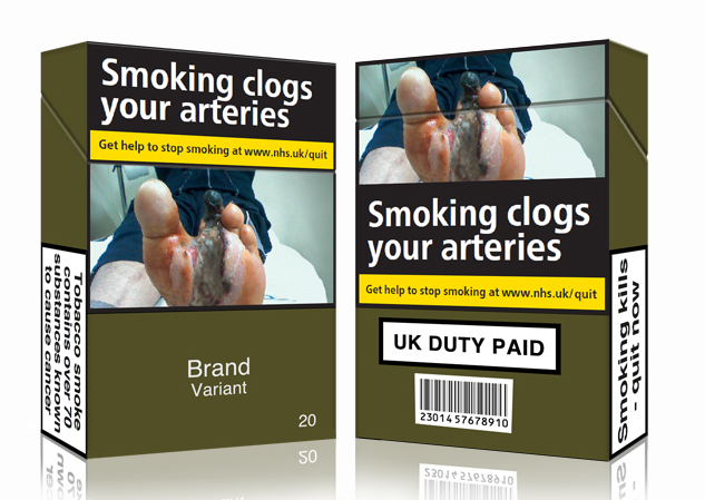 Plain packaging mockups of cigarette cartons