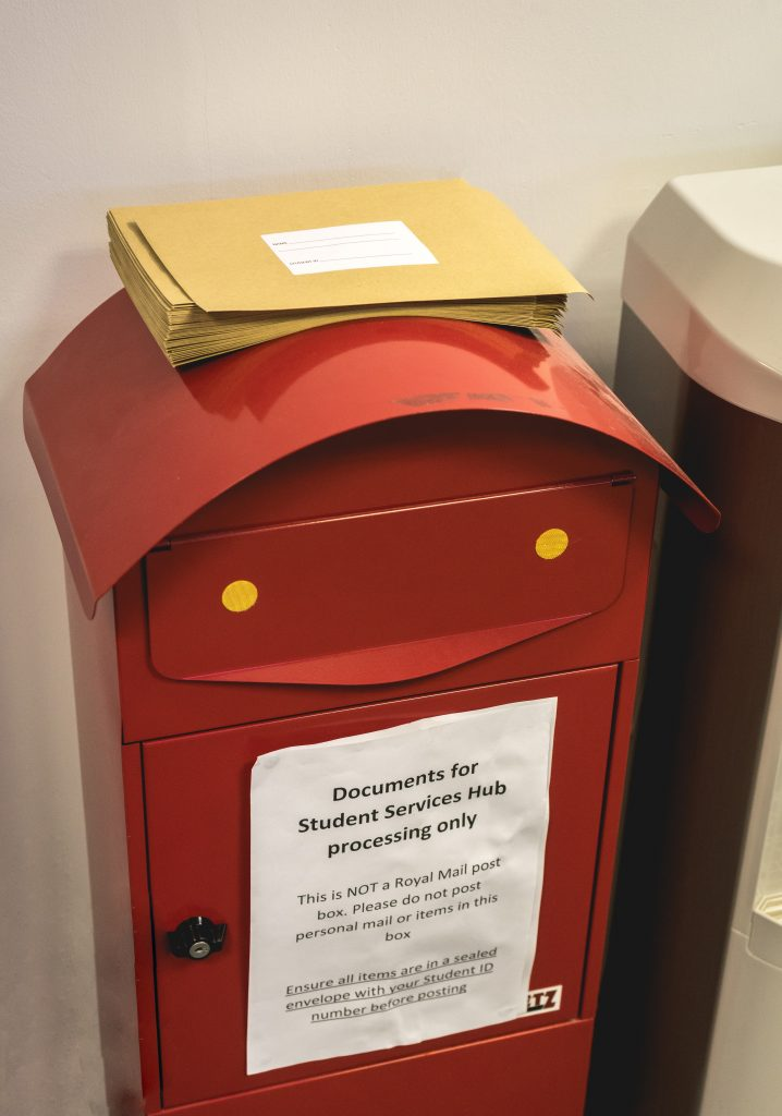 Postbox in the student services hub